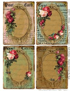 instant download Lovely Rose Frames - Digital Download - Printable Digital Collage Sheet - Gift Tags Hang Tags Romantic