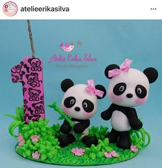 Panda Panda Themed Party, Panda Birthday Party, Panda Party, Birthday Parties, Bear Cakes, Pasta Flexible, Cute Panda, Cold Porcelain, Animals For Kids