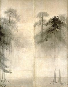 """""""Pine Trees"""" in detail (pair of six-folded screens; ink on paper), by HASEGAWA Tohaku (1539~1610): National Treasure of Japan 長谷川等伯 松林図(国宝): I'm fortunate to see this yesterday at Tokyo National Museum."""