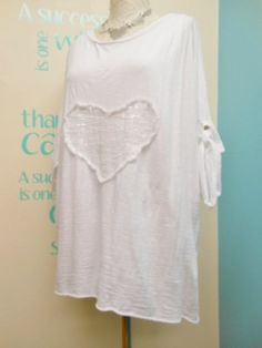 WHITE CASUAL LAGENLOOK SEQUIN HEART TUNIC & VEST TOP SET FITS PLUS SIZES 14-18