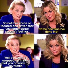 Leslie Knope and waffles. Parks and Recreation