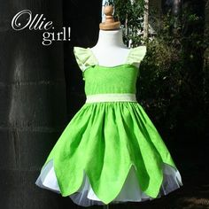 Tinkerbell Fairy Halter Dress with wings by boutiqueolliegirl
