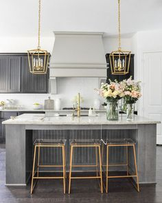 Projects and Plans – Exciting Room Updates by Decor Gold Designs Beautiful kitchen statement: grey vent hood, gold lucite bar stools, marble countertops Home Decor Kitchen, Kitchen Furniture, Kitchen Modern, Gold Kitchen, Kitchen Ideas, Furniture Stores, Cheap Furniture, Furniture Nyc, Office Furniture