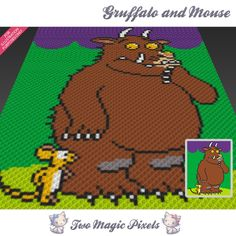 Gruffalo and Mouse crochet blanket pattern; knitting, cross stitch graph; pdf download; no written counts or row-by-row instructions by TwoMagicPixels, $2.84 USD
