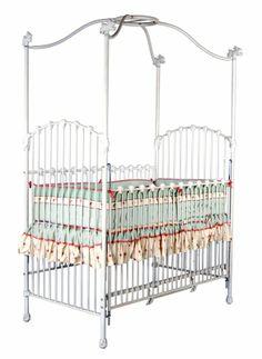 Pretty Iron Canopy Vintage Baby Crib - Available at StylishVintageBaby.com