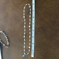 """Necklace Gold, cream and silver beads. Knotted between each bead. 16"""" long. Like new. Holly Yashi Jewelry Necklaces"""