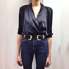 Gorgeous satin blouse teamed with the coolest belt & high waist denim jeans