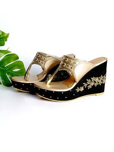 Buy White Embroidered Vegan Leather Kolhapuris Block Flats online at Theloom Wedges Online, Neck Designs For Suits, Classic Suit, Black Wedges, Vegan Leather, Wedding Shoes, Footwear, Pairs, Silk