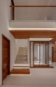 Image 14 of 25 from gallery of House in the Air / TechnoArchitecture. Photograph by Shamanth Patil House Floor Design, Home Stairs Design, Bungalow House Design, Home Room Design, Cool House Designs, Modern House Design, Temple Design For Home, Indian Home Design, Kerala House Design