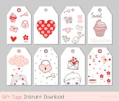 cute printable gift tags with sweet kawaii hand drawn elemen.bag gift tags, for loved once, friends, kids and teachers. Cute Valentines Day Gifts, Valentines Greetings, Valentine Crafts, Cute Gifts, Gift Tags Printable, Printable Stickers, Planner Stickers, Printable Valentine, Valentine's Day Printables