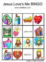 Bible Bingo. Play just like Bingo, but instead of numbers, use people and words from the Bible.