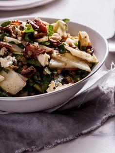 Salade de lentilles, poire, bacon et gorgonzola