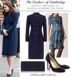 Duchess of Cambridge outfit for visit to Reach Academy Feltham. Click to shop the look