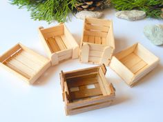 This is a set of 5 ( five ) handmade Dollhouse miniature wooden crates that are approximately 1/12 in scale. They have unique designs each and look just like real regular sized crates.  This is a listing to purchase five fruits or vegetables crate like the 5 you see on the pictures.    With this set you save $6 ( US ) compared to if you buy these crates separately from my shop.    The smallest crate has a size of 2.1 ( length) x 1.5 ( width) x 0.5 ( height ) inches which is 5.3 x 3.7 x 1.3…