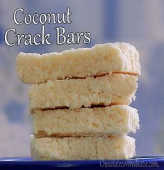COCONUT CRACK BARS: 1 cup unsweetened shredded coconut cup agave or pure maple syrup (or cup water and nunaturals stevia packs), 2 tbsp virgin coconut oil, tsp pure vanilla extract, tsp salt, optional raw chocolate chips Desserts Keto, Paleo Dessert, Dessert Bars, Dessert Recipes, Bar Recipes, Baking Desserts, Easy Desserts, Drink Recipes, Recipies