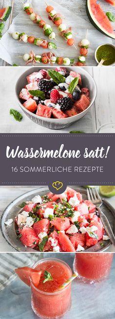 Egal, ob kalt oder warm, zum Trinken oder Löffeln – Hauptsache Wassermelone ist der Star in deinen Gerichten. Beweis liefern diese 16 Rezepte.