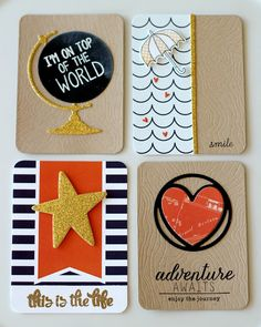 Project Life cards by Amy Tsuruta. Reverse Confetti stamp sets: My World, Later Alligator, Weather It Together and Here's the Story. Confetti Cuts: Globe, Donut You Know, You Are a Star, Weather It Together & Woodgrain Panel