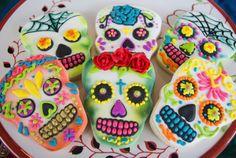 colorful skull sugar cookies for Halloween wedding favors