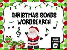 Christmas Songs Wordsearch- Students search for the titles of popular Christmas songs