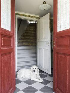 Välkommen in. Entrén är smakfullt renoverat i rött och grönt med schackrutigt golv. Golden retrievern Fanny tycker om att ligga i hallen och spana ut genom dörrarna.