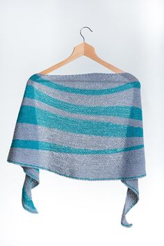 Hand Knit Striped Asymmetric Shawl di AtelierBusas su Etsy