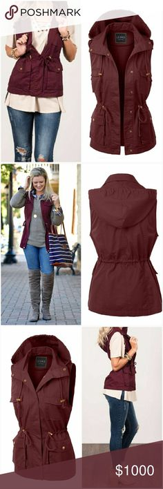 •Coming Soon• Burgandy Utility Vest • Like this listing and comment below to be notified when this arrives. Price:$40  Super soft and trendy burgandy anorak cargo vest. A must have for your fall wardrobe  100% Cotton AJ's Threads Jackets & Coats Vests