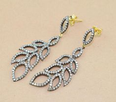 1 Pc 925 Sterling Silver Natural Pave Diamond EarringPave