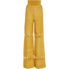 Pepa Pombo Ovarzazat Wide Leg Pant (2,100 CAD) ❤ liked on Polyvore featuring pants, gold, high-waisted wide leg pants, high-waisted trousers, gold high waisted pants, highwaist pants and gold pants