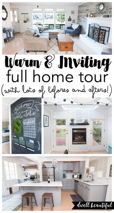Full Before and After House Tour - Take a tour of this warm and inviting designer home and get useful design tips, decor ideas, and DIY tutorials for creating a beautiful home! Kitchen Gifts, Kitchen Decor, Home Office Decor, Diy Home Decor, House Makeovers, Contemporary Kitchen Cabinets, Pinterest Home, Up House, Tiny House