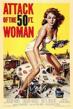 "Attack of the 50 Foot Woman 27x40 Movie Poster (1958). CAST: Allison Hayes, William (Bill) Hudson, Roy Gordon, Yvette Vickers, George Douglas, Ken Terrell, Michael Ross, Frank Chase, Eileen Stevens, Otto Waldis; DIRECTED BY: Nathan (Hertz) Juran; PRODUCER: Allied Artists;  Features:    27"" x 40""   Packaged with care - ships in sturdy reinforced packing material   Made in the USA  SHIPS IN 1-3 DAYS"
