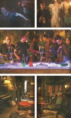 The Mortal Instruments: City of Bones stills. Alrighty, so the top two photos are from Magnus' party I guess. The middle picture is also from Magnus Bane's party where Simon (played by Robert Sheehan) and Isabelle Lightwood (played by Jemima West) are. The bottom photos look like they're shots of Dorothea's apartment (played by CCH Pounder).