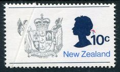 NZ Error 1970 Picts 10c Arms unh single with pre printing paper crease, cuts Queens Silver Head off, unusual, ex Parkinson #Stamps #Airmail #MADonC
