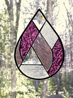 Raindrop suncatcher stained glass by DesignsStainedGlass on Etsy
