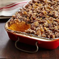Sweet Potato Casserole - Sweet potatoes grow in abundance in Alabama where sculptor Sandi Stevens' family eats them year-round. This casserole is a Stevens favorite: silky pureed sweet potatoes topped with a sweet and crunchy pecan-cornflake topping. Thanksgiving Sweet Potato Recipes, Thanksgiving Side Dishes, Holiday Recipes, Fall Recipes, Vegetarian Thanksgiving, Thanksgiving Appetizers, Wine Recipes, Cooking Recipes, Cooking Tips