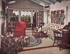 https://flic.kr/p/5Jirtj | 1948 Mid Century Traditional Living Room | Early American or traditional style decorating was probably more popular at the time than the modern design that we like to think of now as representing Mid Century design. This Armstrong ad appeared in Ladies Home Journal.