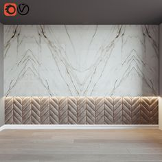 Wall panel with calacatta ceramic tiles by Porcelanosa, Urbatek and chevron textile panel with light Padded Wall Panels, 3d Wall Panels, Wall Panel Design, Stone Wall Design, Simple Bedroom Design, Bedroom Designs, Chevron Bedding, Bathroom Design Luxury, Marble Wall