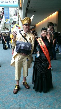 Moist Von Lipwig and Adora Belle Dearheart. The rarely seen Terry Pratchett cosplay is to be applauded