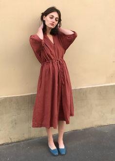 Brick Linen Dress – The Frankie Shop