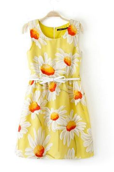 Sun Flowers Pattern Organza Dress