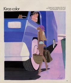 Kiraz 1977 Kiraz-color, Sexy Girl, Hitch-hiker illustrated by Edmond Kiraz | Hprints.com