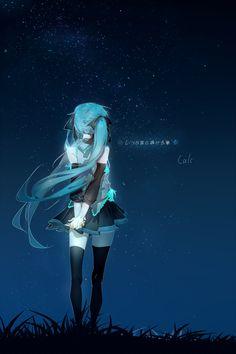 Anime. Anime Girl. Hatsune Miku. Miku Hatsune. Long Blue Hair. Long Teal Hair. Pigtails. Twin-Tails. Ribbons. Art. Stars. Sky.