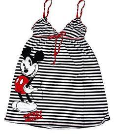 Disney Classic Mickey Mouse Womens Pajama Nightie T Shirt - Striped Print - Blk