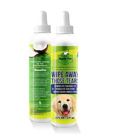 Tear Stain Remover for Dogs and Cats - Natural, Gentle and Soothing Coconut Oil Formula Without Chemicals or Bleach - Cleans Effectively Around Eyes Beard and Paws - Made In USA 8 fl oz -- Read more at the image link. #Pets