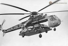 Sikorsky S-64 Skycrane airlifting a bunch of VWs, 1960s