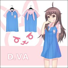 Overwatch D.VA Bunny hoodie T-shirt Dress SD02352