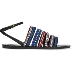 Tory Burch Embroidered leather sandals ($150) ❤ liked on Polyvore featuring shoes, sandals, blue, beaded sandals, embroidered sandals, monk-strap shoes, strappy sandals and colorful sandals
