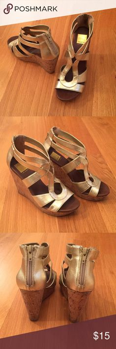 Chunky gold sandal wedges My glamorous and summery chunky gold wedges will spice up white jeans and a cute top. I've also loved wearing them underneath a long and strappy black maxi dress. Tan feet and red toenail polish finish the look. Dolce Vita (for Target) Shoes Wedges