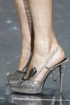 Cinderella shoes by Armani Prive. Armani Prive, Shoe Boots, Shoes Heels, Pump Shoes, Cinderella Shoes, Couture Shoes, Silver Shoes, Silver Sandals, Giorgio Armani