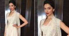 Deepika Paduknoe in Gold Dhoti Style Saree
