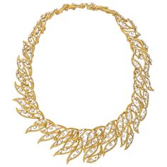 Estate Betteridge Collection 18k Gold & Diamond Twistwire Foliate Necklace